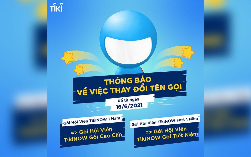 Tiki đổi tên các gói ưu đãi vận chuyển TikiNOW. (ảnh: Tiki)