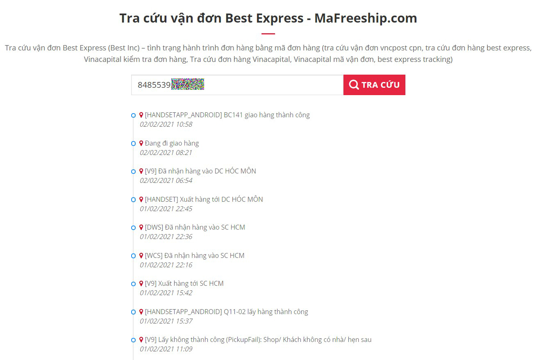 Thông tin lịch trình xử lý đơn BEST Express